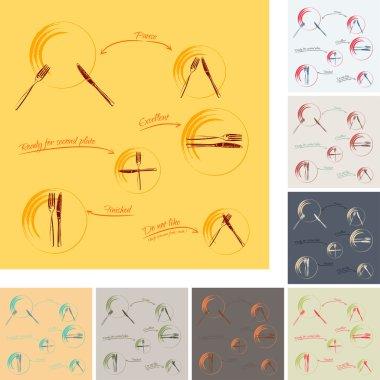 Dining etiquette - set of 8 color schemes