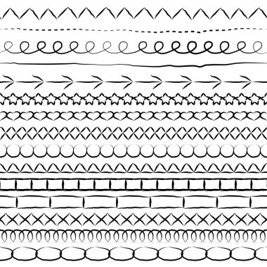 Set of lines and borders from hand drawn elements