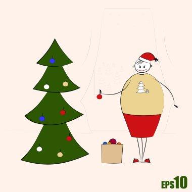 Happy big woman decorating Christmas tree