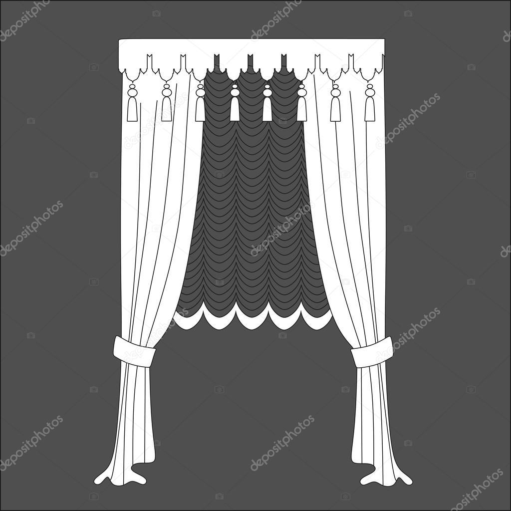 gordijnen. klassieke gordijnen. lambrequin — Stockvector © anytaktlv ...