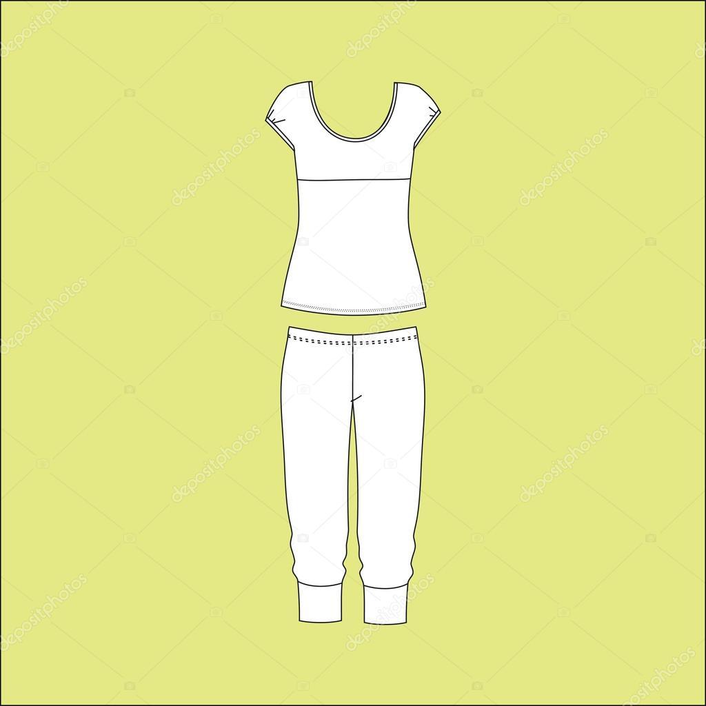 d54384aeb704 Πιτζάμες ζέρσεϊ. homewear. σορτς. κορυφή. Πιτζάμες γυναικείες —  Διανυσματικό Αρχείο