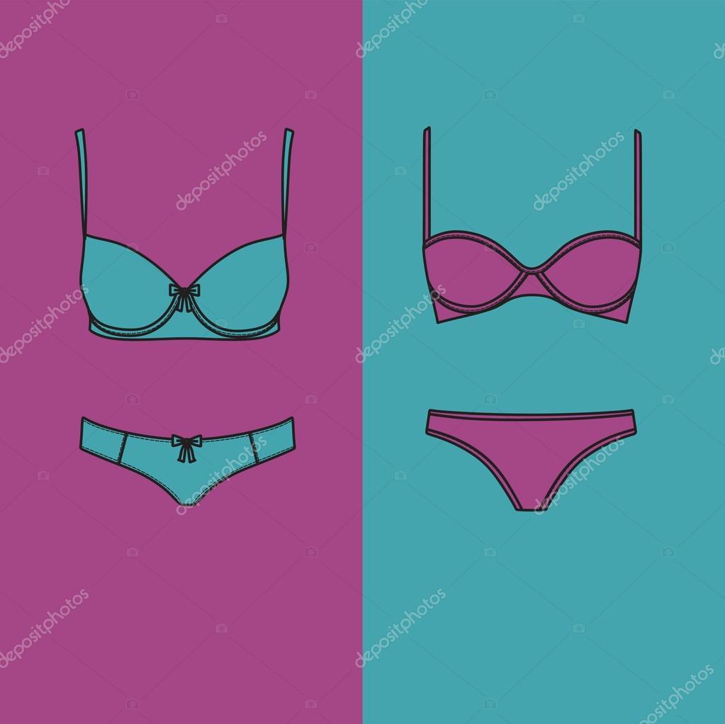 Lingerie. Underwear. panties and bra for women drawn vector . — Stock Vector b0da4be61