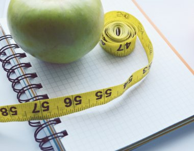 Vegetables and fruits for weight loss, a measuring tape, diet, weight loss