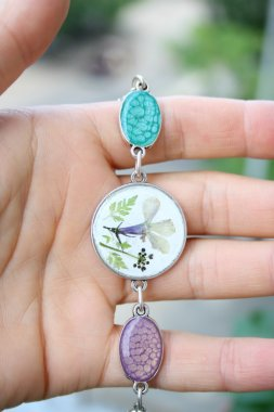Handmade jewelry, earrings, bracelet, ring, flowers, epoxy resin