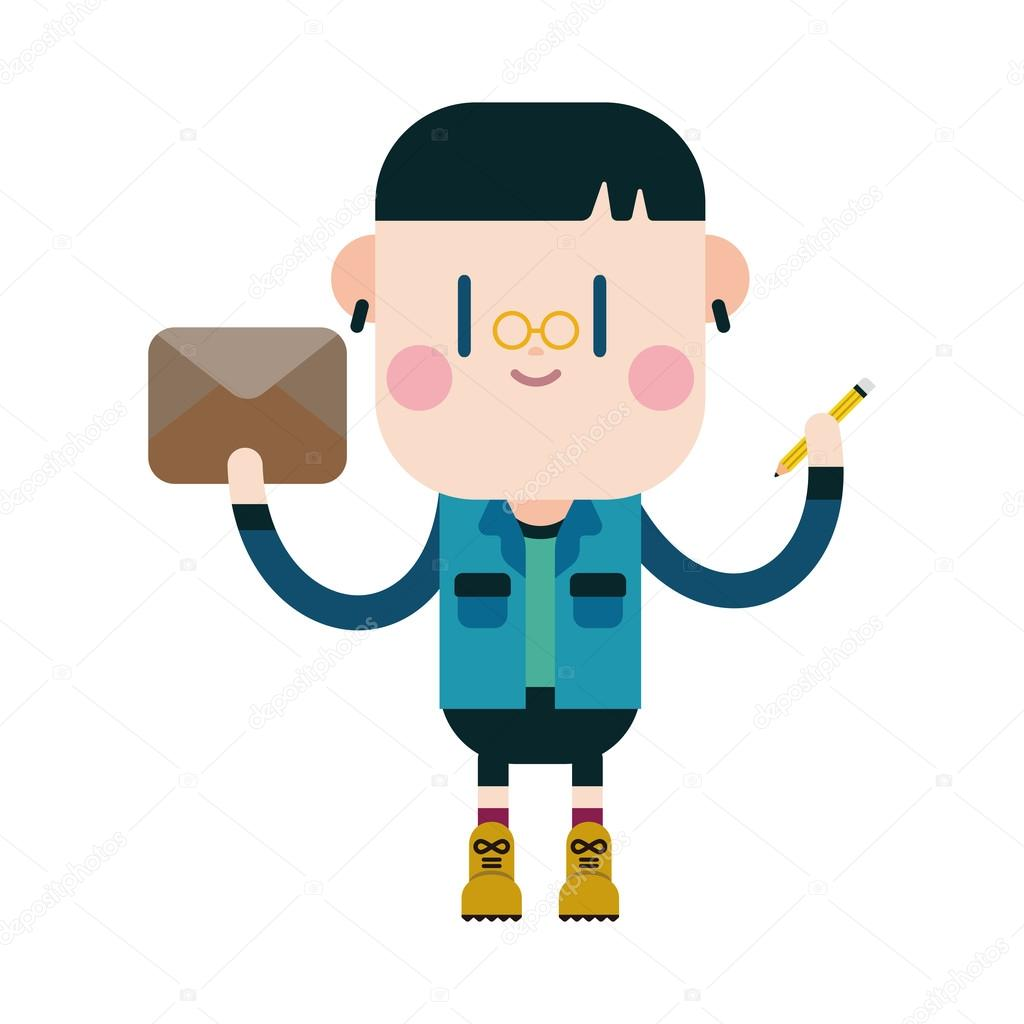 Character Illustration Design Boy Writing Letter Cartoon Eps