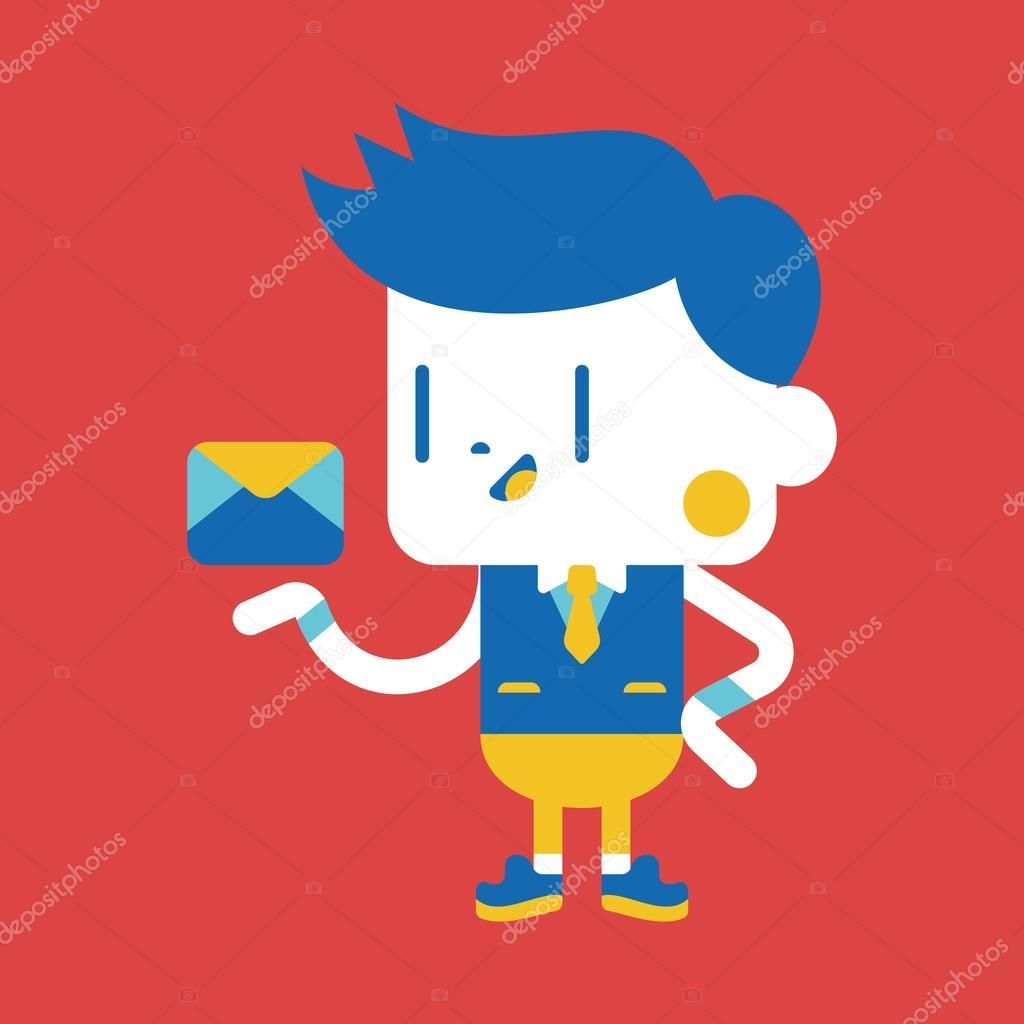Cartoonsmart Character Design With Illustrator : Charakter ilustracja projekt biznesmen wysyłanie listu
