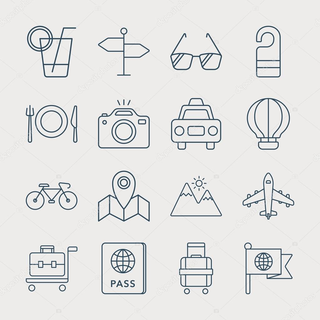 Travel line icon set
