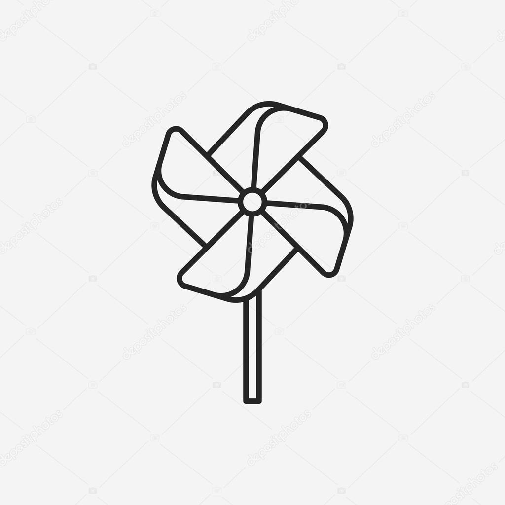 Line Drawing Windmill : Baby toy windmill line icon — stock vector vectorchef