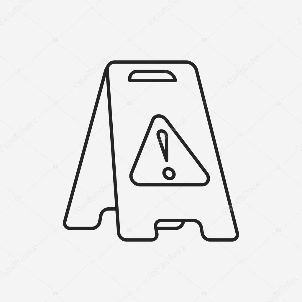 icona linea di attenzione pavimento bagnato — Vettoriali Stock ...