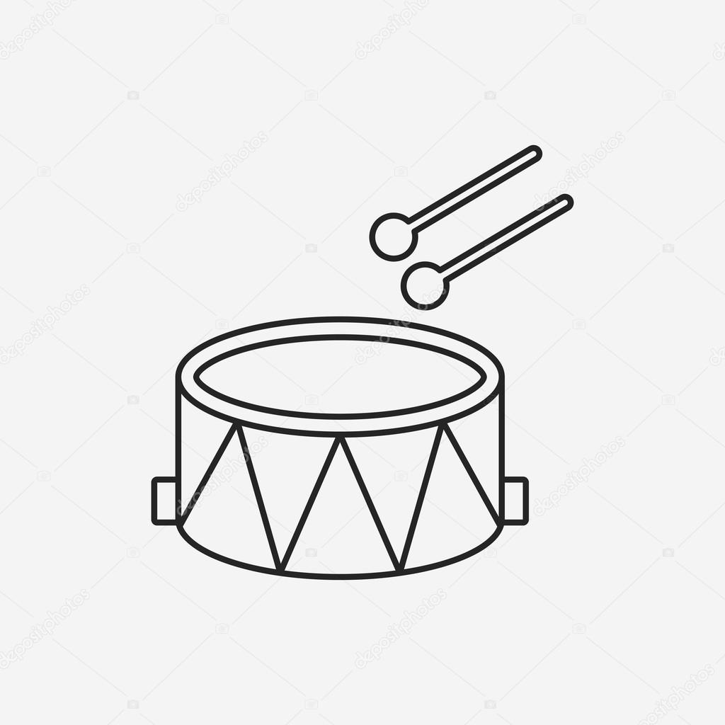 Musical Instrument Drum Line Icon Stock Vector