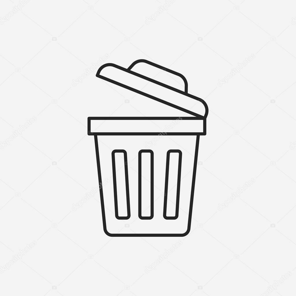 쓰레기통 라인 아이콘 — 스톡 벡터 © vectorchef #76687737