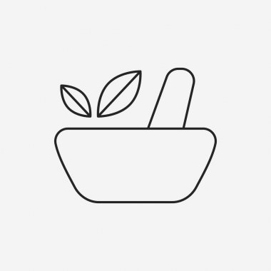 herbal bowl line icon