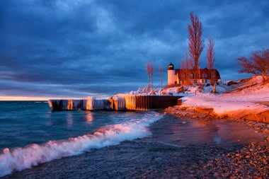 Ice Coated Breakwalls at Point Betsie Lighthouse in Michigan