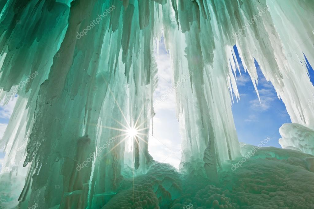 Emerald Ice Curtains on Grand Island - Lake Superior - Pictured