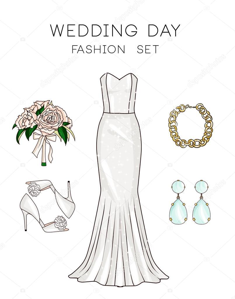 Mode-Reihe von Damen Kleidung und Accessoires - Hochzeitskleid ...