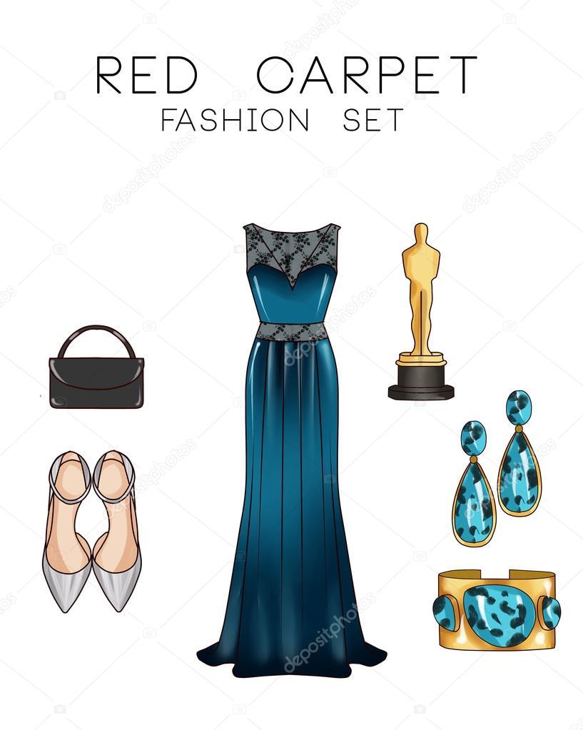 e1fcaceea9 Conjunto de moda de roupas e acessórios - vestido Formal