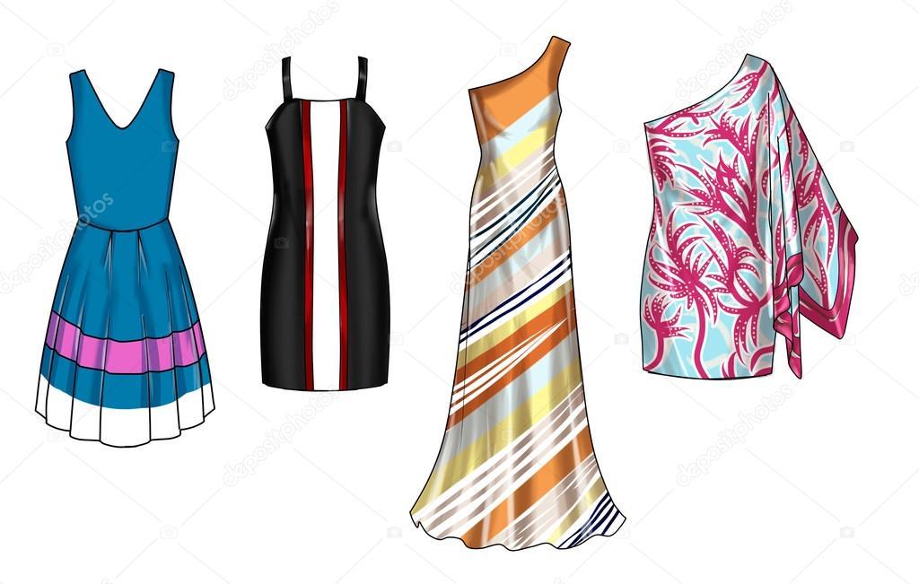 Satz von Fashion flache Vorlagen Skizzen - Woman Kleider - kurz- und ...