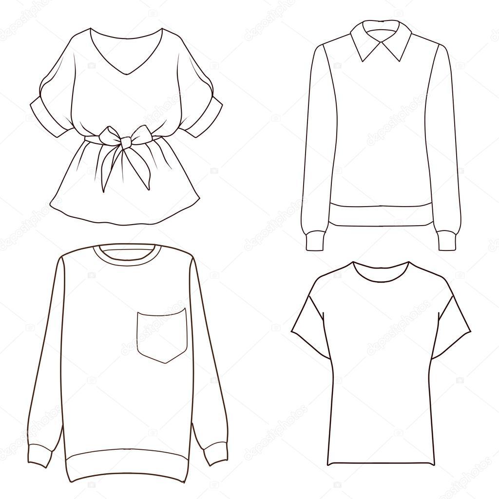 Conjunto de plantilla de dibujo de moda plano de ...