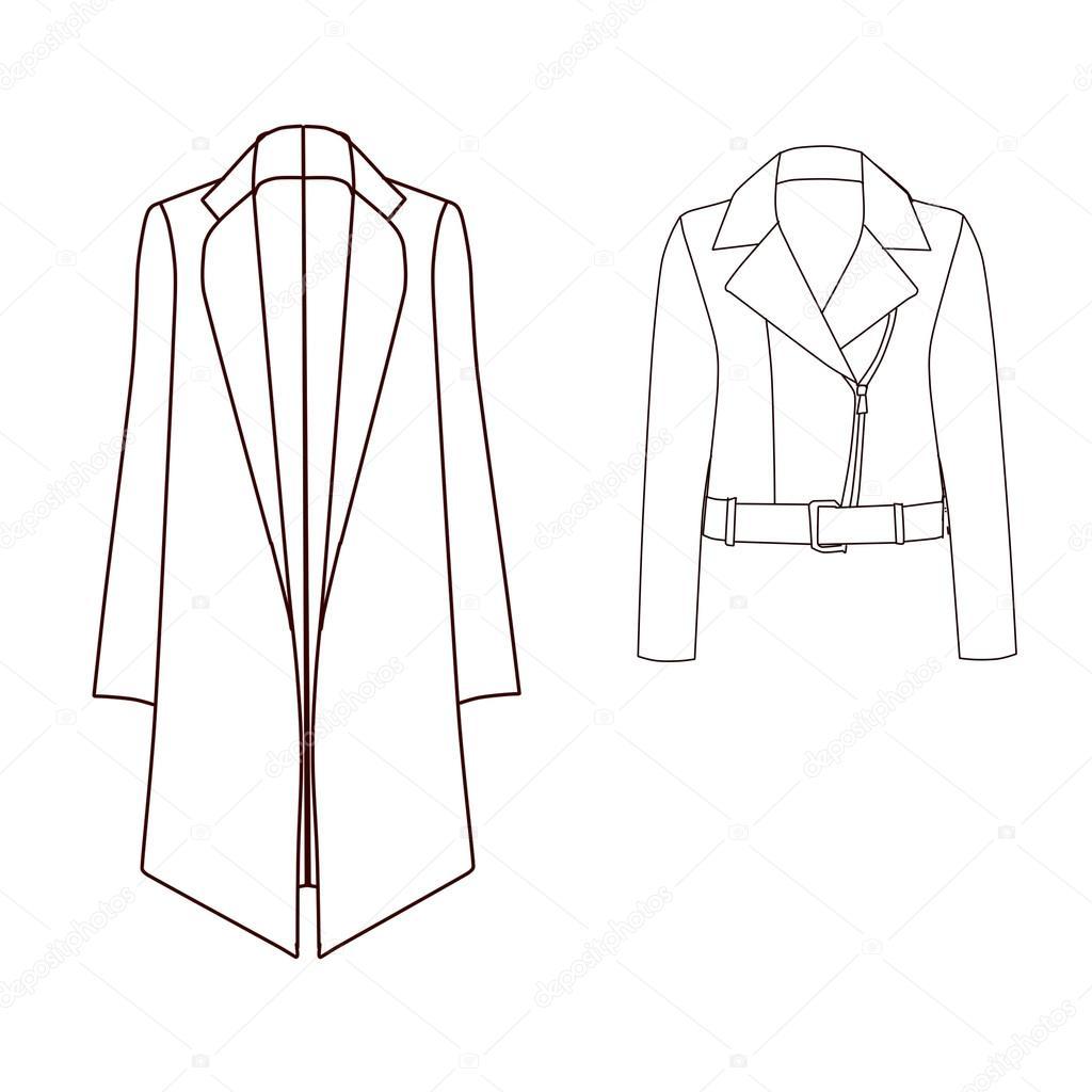 Conjunto de técnicas y plantillas de moda Industrial plana - capa ...