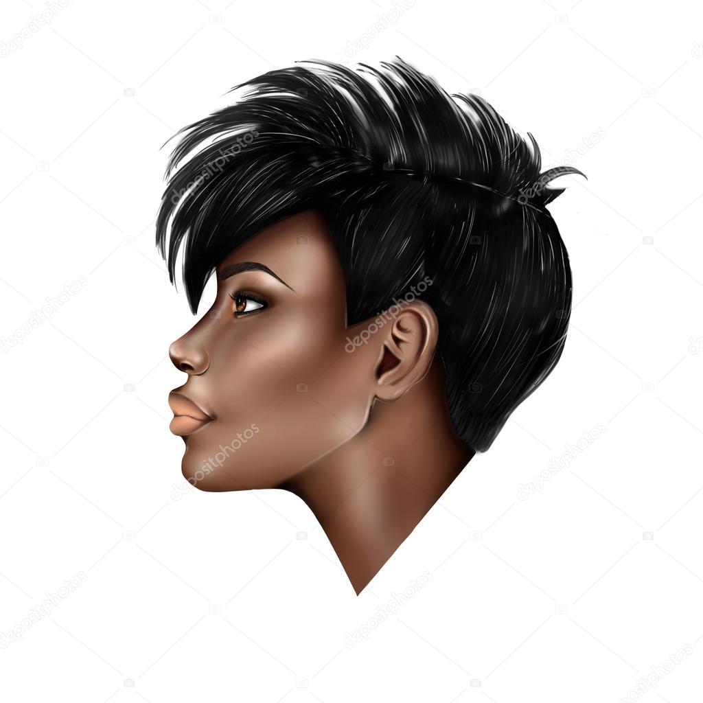 Portret Profil Czarny Dziewczynka Z Krótkie Fryzury