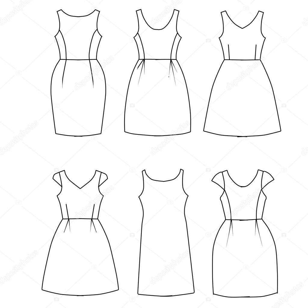 Imágenes Vestido Plano Conjunto De Plantilla De Moda