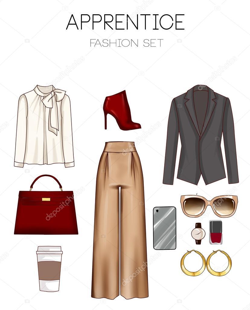 0a866a4652e Σετ μόδας ρούχα, αξεσουάρ και παπούτσια της γυναίκας — Φωτογραφία ...