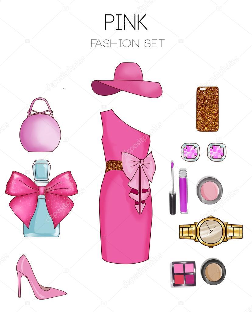 a1b59ea3f4b2 Conjunto de moda de mujer ropa y accesorios - Vestido de color rosa, bolsa,  tacones de aguja, cosméticos y joyería– imagen de stock
