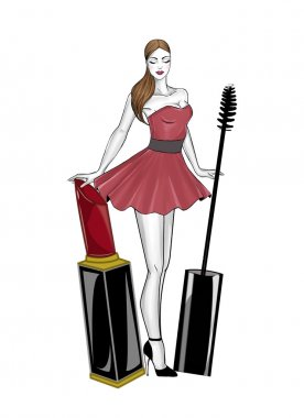 Girl with lipstick and mascara wand background illustration