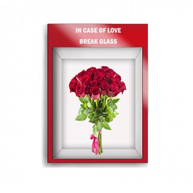 photorealistic mock up illustration of roses boquet  in an  emergency glass case