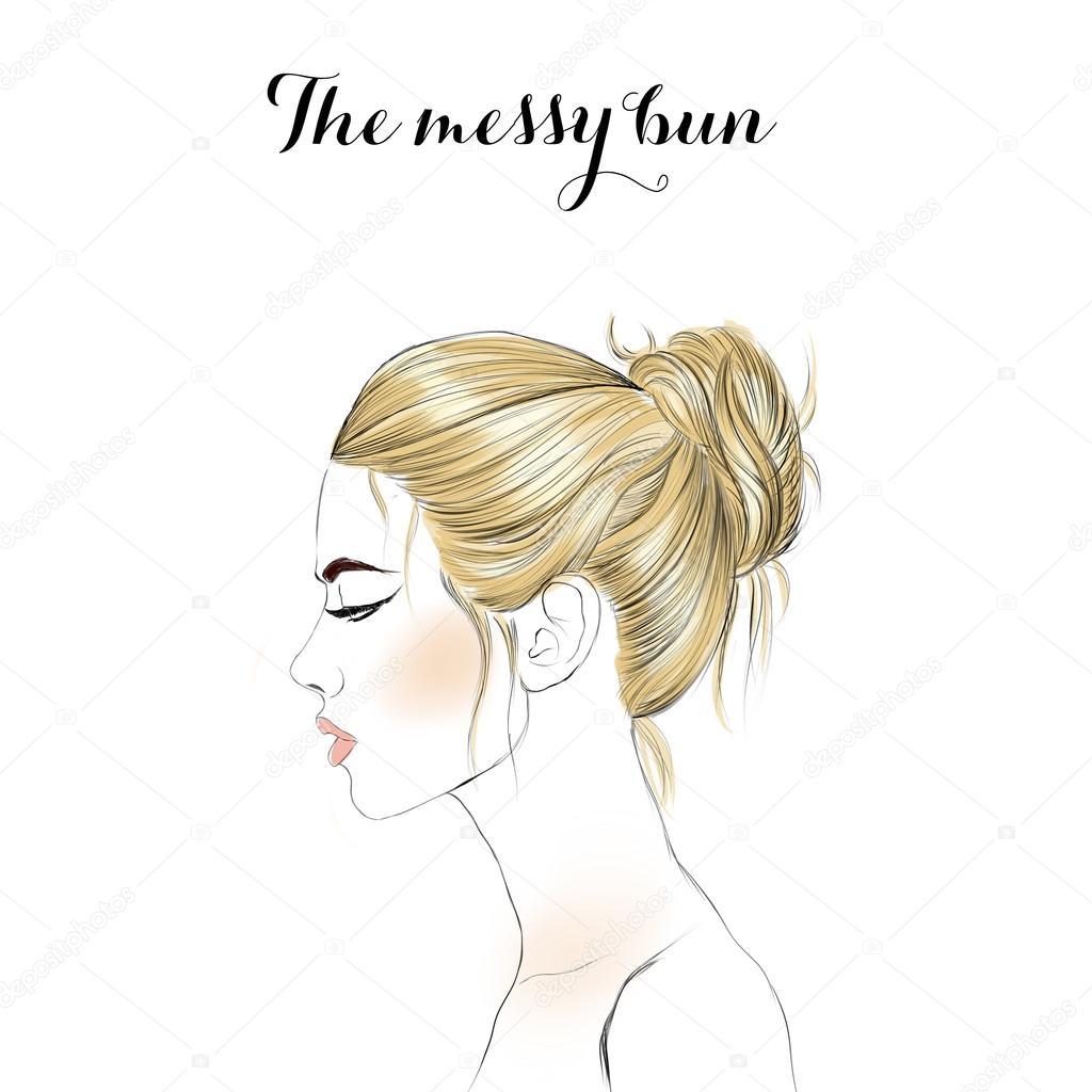 Jeune Fille Blonde Main Trame Dessinée Illustration Fille De