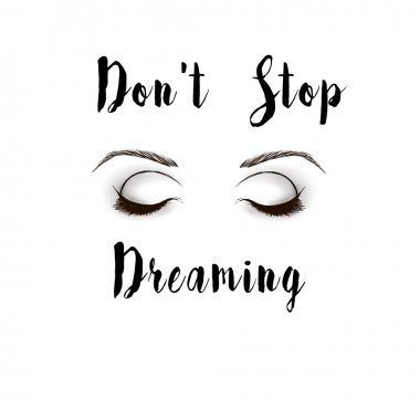 Black and White Fashion Illustration - eyes and text quote on White background