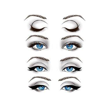 Black and White Fashion Illustration - eyes on White background