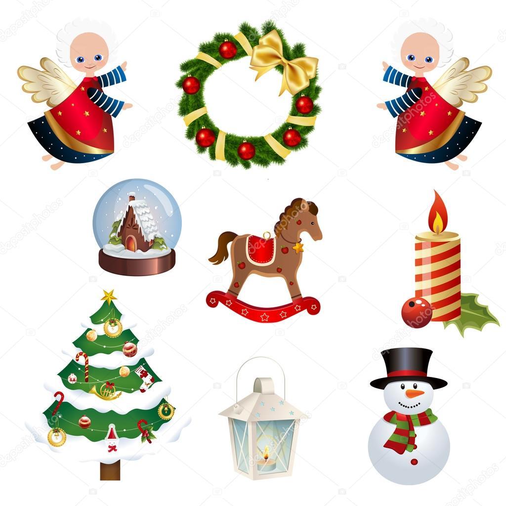 sammlung von verschiedenen weihnachts icons set von. Black Bedroom Furniture Sets. Home Design Ideas