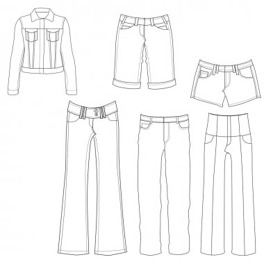 Flat template sketches of different denim and jeans clothes - Set of denim clothes stock vector