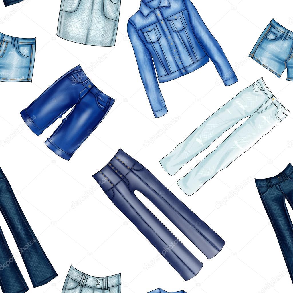 De patrones sin fisuras - todo - fondo con ropa vaquera y jeans ...
