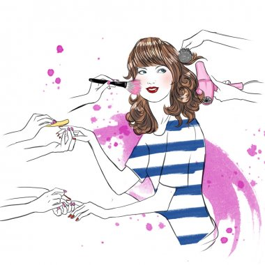 Young woman at beauty salon having beauty treatment - hand drawn raster illustration