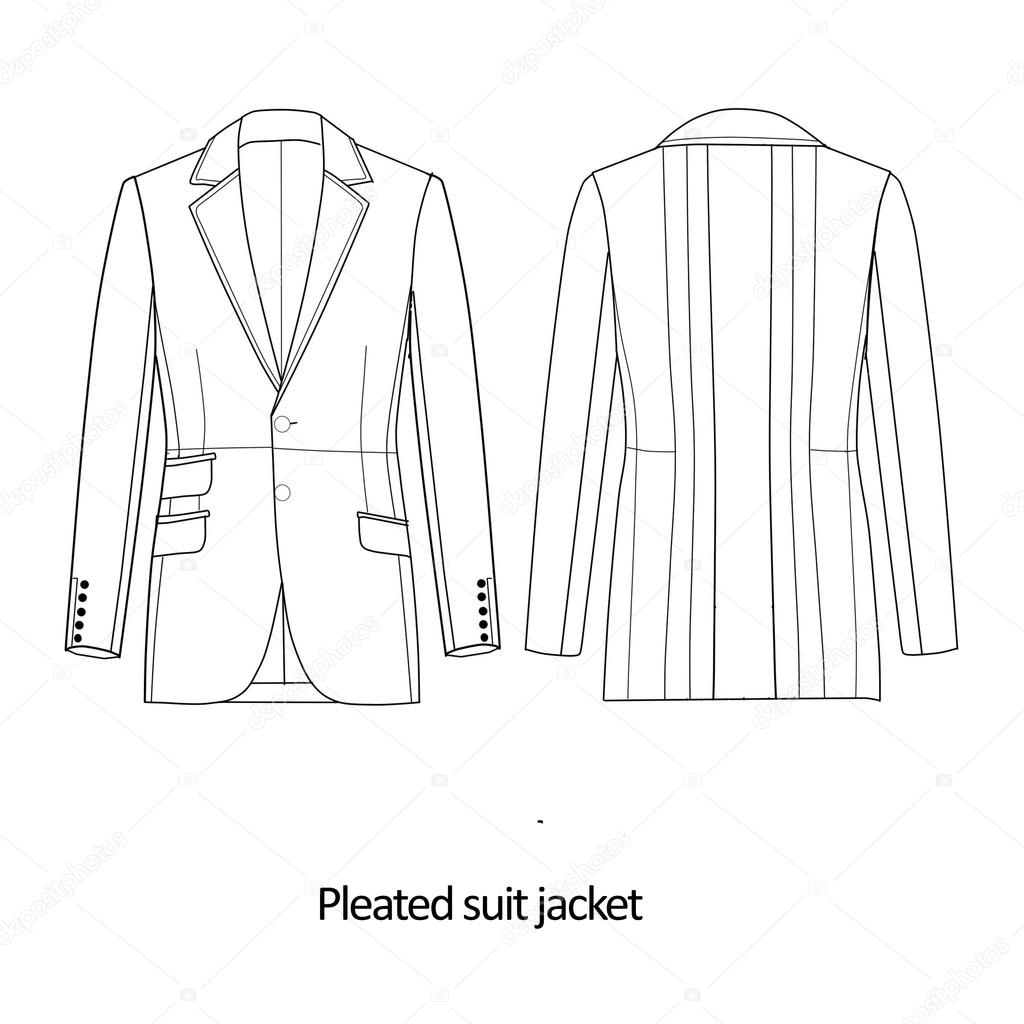 Flat Fashion Sketch Template Man Suit Jacket Stock Photo