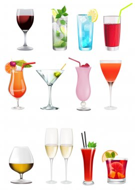 Set - Collection of different alchoolics and soft drinks - Clip art set