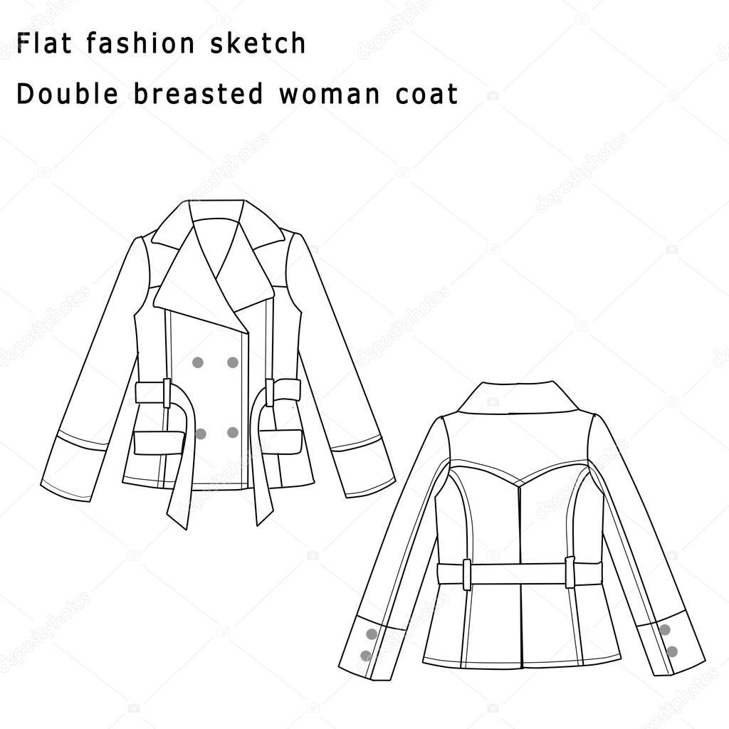 Plantilla de moda dibujo plano - capa de la mujer — Foto de stock ...