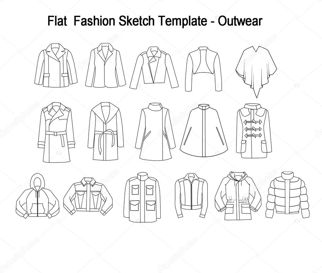 Fashion Flat Template Sketches Outwear Stock Photo C Inquieta