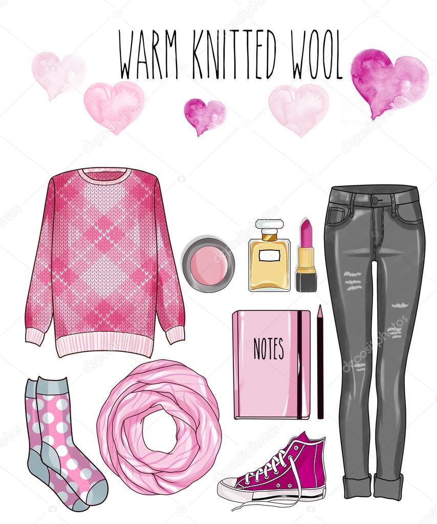 bedba6c3 Conjunto de ropa, accesorios y calzado - pantalones de mezclilla gris, lana  suéter de punto mujer de moda, bufanda, maquillaje, - set Clip Art– imagen  de ...