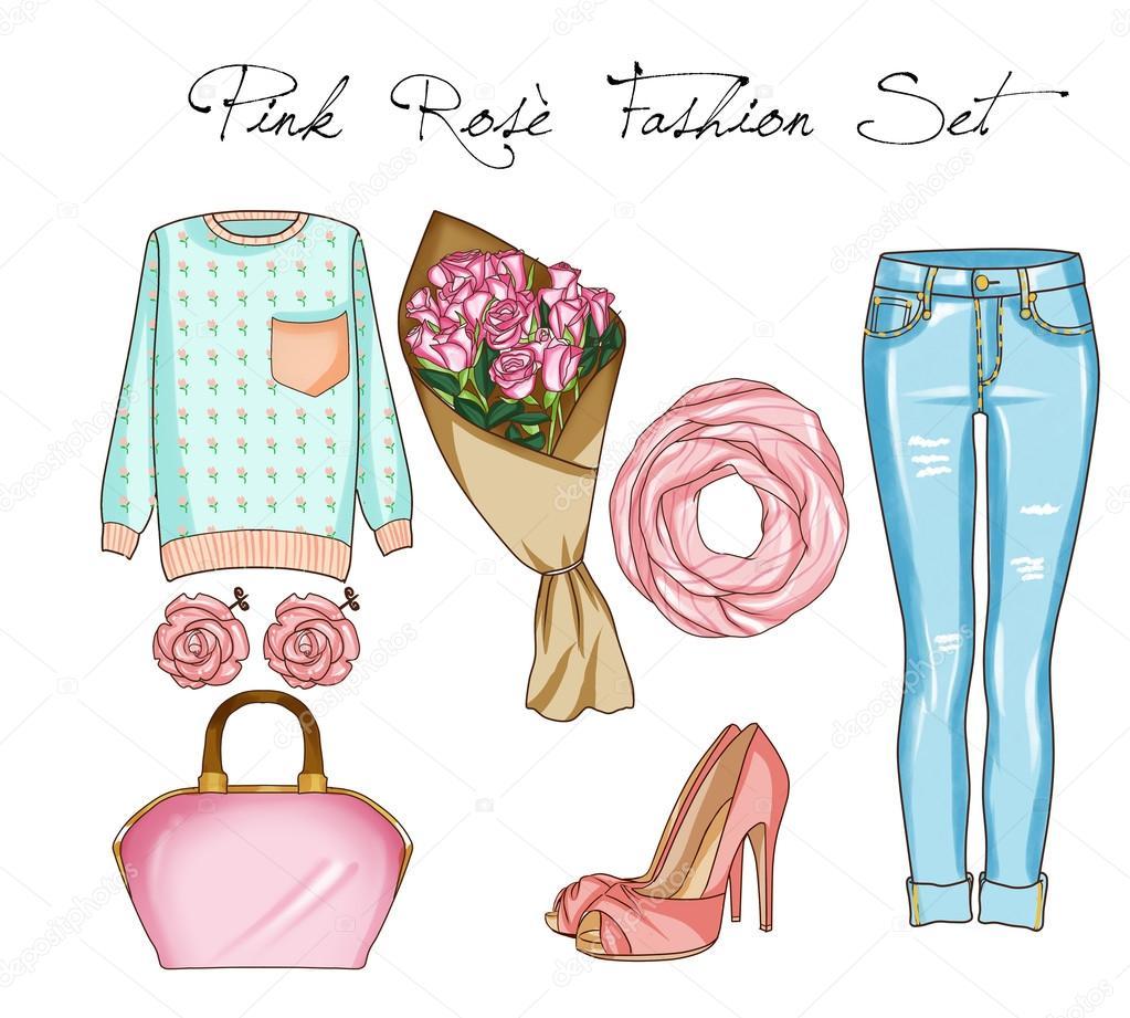 71c2f32b Moda juego de ropa de mujer, accesorios y zapatos. Ropa casual en denim  azul y color rosa — Foto de ...