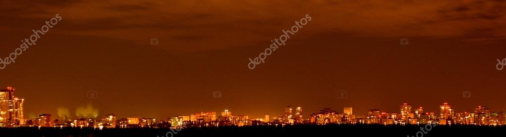 Night city on the horizon