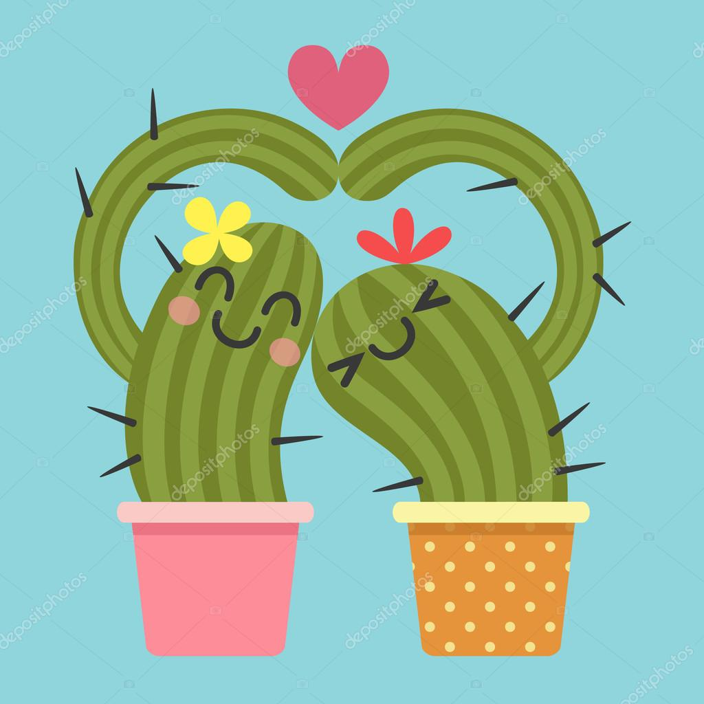 Loving couple of cactus