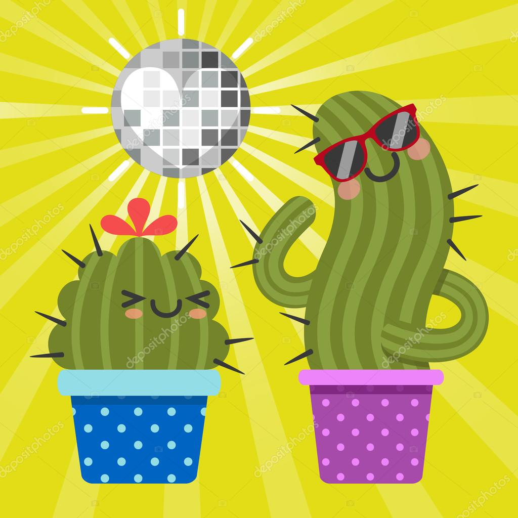 Loving couple of disco cactus