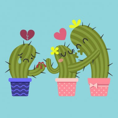 Kissing couple of cactus and broken heart cactus