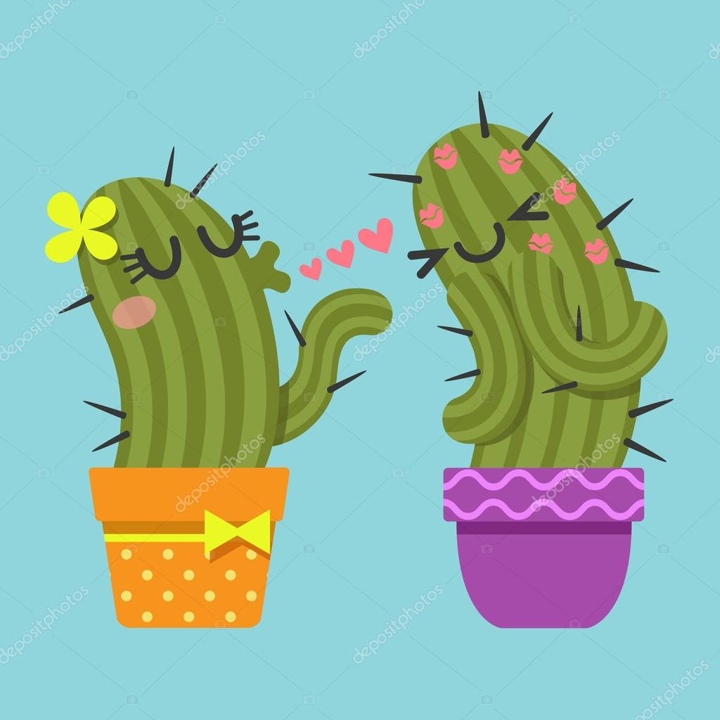 Couple of cactus blowing kiss