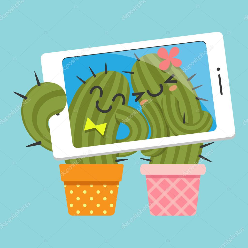 Couple of cactus taking selfie