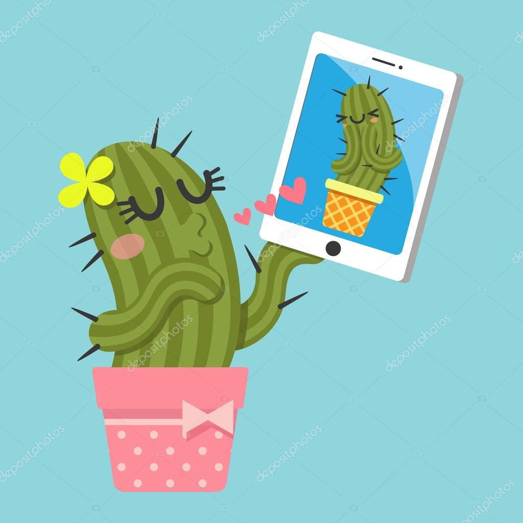 Couple of cactus video chatting on tablet