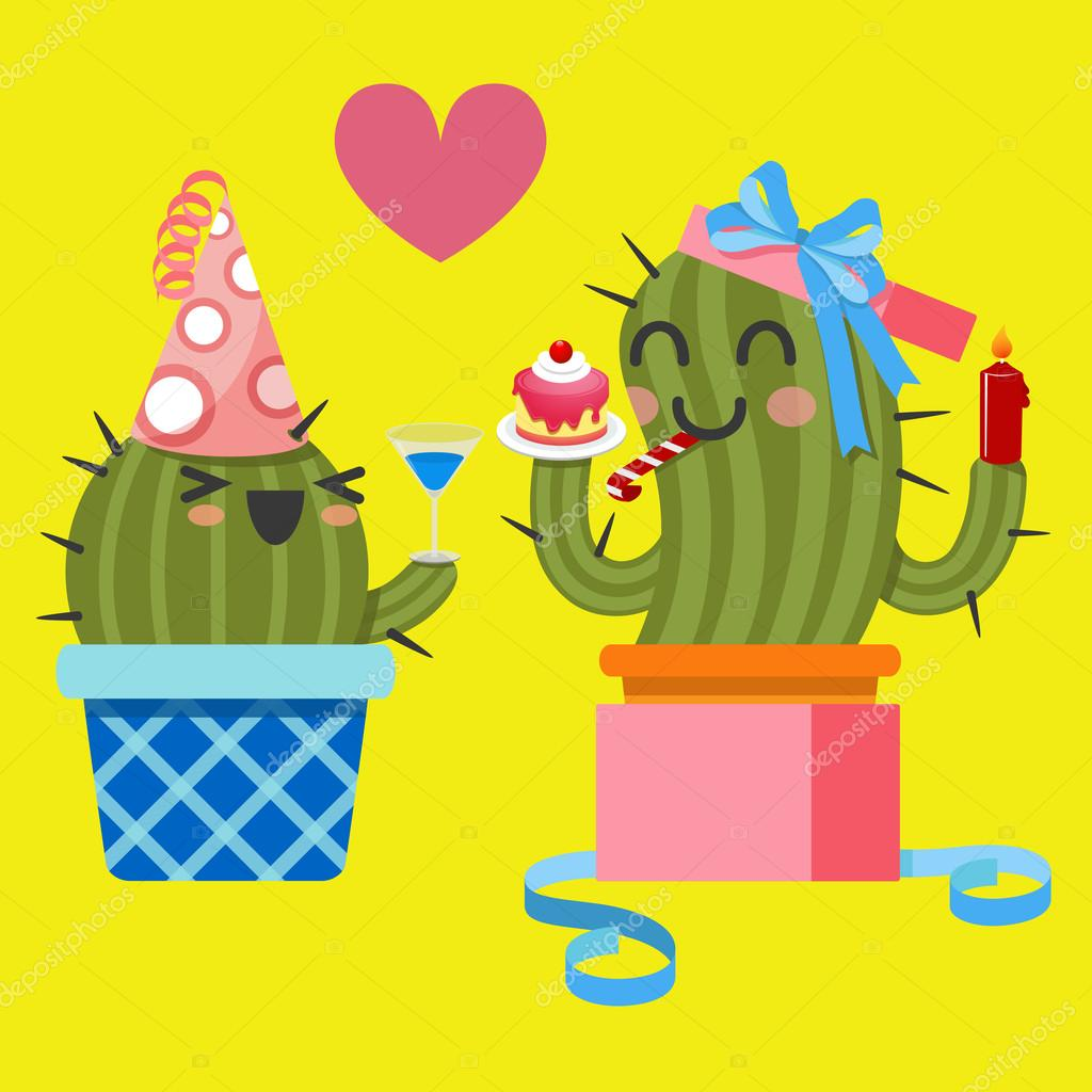 Loving couple of cactus at birthday party